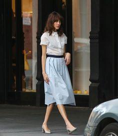 Shirt + skirt look.