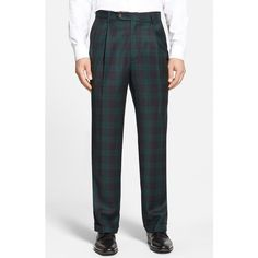 Men's Berle Pleated Plaid Wool Trousers ($175) ❤ liked on Polyvore featuring men's fashion, men's clothing, men's pants, men's casual pants, green, mens green pants, mens pleated pants, mens wool pants, mens tartan pants and mens plaid pants