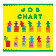 Check out this colorful & friendly attendance/job chart. Use this chart to help kids keep track of their own attendance & classroom jobs. Preschool Supplies, School Supplies For Teachers, Craft Supplies, Preschool Ideas, Preschool Class, Kindergarten, Craft Ideas, Bulletin Board Borders, School Bulletin Boards