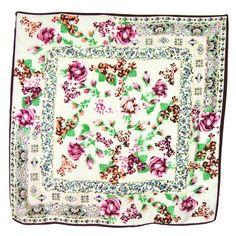 Foulard en soie carré écru bouquets roses 85 x 85 cm - Foulard/Foulard soie carré - Mes Echarpes