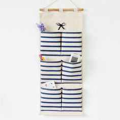 Organizer Sale Bolsas De Marca 2015 Retro Zakka Striped Hanging Storage Bag 6 Pockets Sundries Organiz Box For Home Decoration