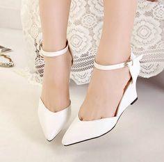 Women sandals platform 2014 vintage pointed toe heel summer wedge shoes black white