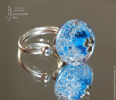 Купить Аква - кольцо - авторский лэмпворк, серебро, кольцо, lampwork (лэмпворк), стекло