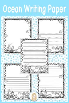 5 differentiated pages of cute Ocean Writing Paper so you'll have your choice of just what you need to make your learners successful. Non writers can draw, pages for students to draw and write, and lastly pages for just writing. These are great for an Ocean Writing Center or Station or to use as part of an Ocean Research Project. #oceanunit #oceanwritingpaper #oceanactivities Preschool Journals, Kindergarten Writing, Writing Paper, Cool Writing, Kids Writing, Writing Worksheets, Writing Activities, Ocean Lesson Plans, Writers