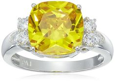 Platinum Plated Sterling Silver www.teelieturner.com Yellow Cushion-Cut Cubic Zirconia Ring, Size 8 $24.85 #sparkle