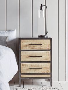The drawers of our sturdy Allston Bedside Table are crafted from natural toned wood, with visible wood grain details, and are set into a stylishly simple and dark toned frame. A versatile piece of design; Industrial Bedroom Furniture Sets, Industrial Style Bedroom, Vintage Bedroom Furniture, Bedroom Vintage, Table Furniture, Modern Vintage Bedrooms, Wooden Bedside Table, Bedside Tables, Iron Console Table