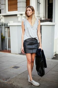 grey tee + leather skirt (camille charriere)