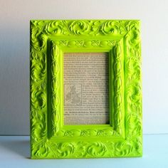 Reclaimed antique frame, love the frame, think the neon paint destroyed it.