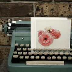 I have this type writer, it was my Grandmothers. She also grew peonies. I should set this up in my house.