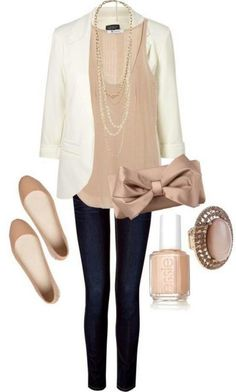White Blazer, Neutral Colored Tank, Black Jeans/pants, Nude Flats. This Is A Very Simple And Elegant Neutral Outfit.