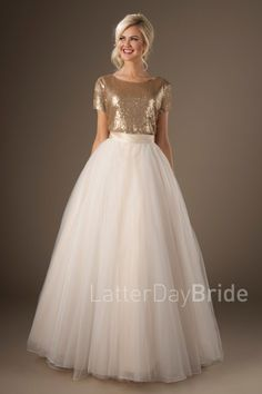 2017 New Design Two Pieces Modest Wedding Dresses With Short Sleeves Sequins Top Tulle Skirt Modern Modest Bridal Gowns Boho Country Western Gold Wedding Gowns, Modest Wedding Dresses, Cheap Wedding Dress, Bridal Dresses, Bridesmaid Dresses, Tulle Wedding, Wedding Skirt, Dressy Dresses, Simple Dresses