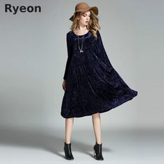 31c22ab6358 Ryeon Big Size Spring Winter Velvet Women Dresses Vintage A-line Solid Full  Sleeve Pockets Casual Dress Maternity Dresses