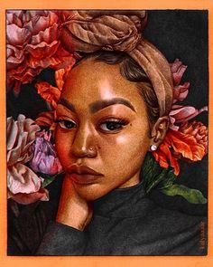 Pop Art Girl, Black Girl Art, Black Women Art, Black Art, African Artwork, Natural Hair Art, African American Artist, Woman Drawing, Art Pictures