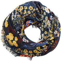 Flower Print Scarf (18 BAM) ❤ liked on Polyvore featuring accessories, scarves, floral scarves, floral shawl and floral print scarves