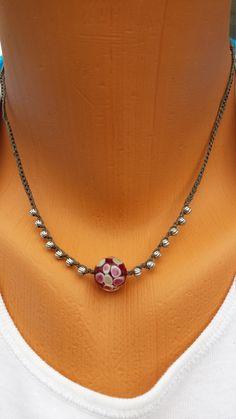 Hand Crocheted Necklace Glass Art Bead Silver by BEEDZnBAGZ