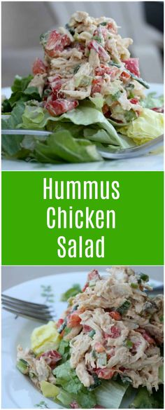 Swap out mayo for something a little healthier - hummus! You'll love this low-carb, low-calorie Hummus Chicken Salad. Great for lunch or meal prep! via @aggieskitchen
