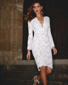 The Valentine Fitted Midi  also available in black #Whiterunway #weddingfash #lace #bridetobe #engagementdress #bridalshower