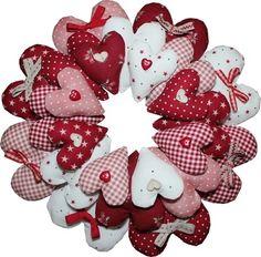 BOM and Kits :: Kits - Rinske Stevens Design - page 2 Valentine Day Wreaths, Valentines Day Decorations, Valentine Day Crafts, Holiday Crafts, Christmas Wreaths, Diy Valentine's Day Decorations, Fabric Hearts, Fabric Wreath, Heart Crafts