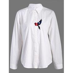 Bird Embroidered Button Up Shirt