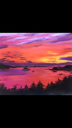 Acrylic Sunset Painting Over A Lake
