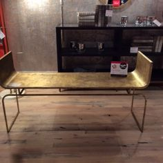 Spotted this large Trieste Bench from Mr. Brown which is ideal for a kitchen table, foyer or hallway. Love the lines and hammered gold finish. Mr. Brown 144-116 E Kivett Dr.