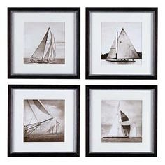 Shop the Eichholtz Modern Classic Set of 4 Michael Kahn Boat Framed Wall Art Prints and other Wall Art at Kathy Kuo Home Wall Art Sets, Framed Wall Art, Wall Art Prints, Ocean Home Decor, Grey Home Decor, Grey Wall Art, White Backdrop, Modern Classic, Backdrops