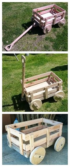 It is a kids cart for playground made with 100% pallet wood. Axes iron pipe and wooden wheels. Se trata de un carro para juegos infantil hecho 100% con madera de pallets. Ejes en caño de hierro y ruedas de…