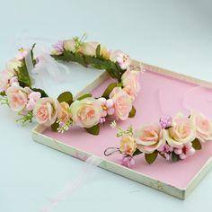 Newest Handmade Flower Crown Wedding Wreath with wrist Bridal Headdress Headband Hair Band Accessories for Girls Women