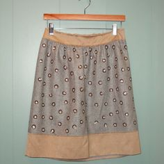Philosophy di Alberta Ferretti - Grey Wool Herrinbone Skirt Studded with Acrylic Beads - Size:40/6 from FROCKOLOGIE for $150 on Square Market