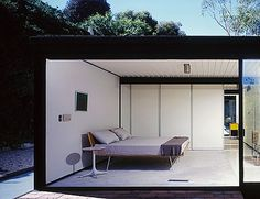 Pierre Koenig's Case Study House #21 photographed by Julius Shulman featuring Modernica's Fastback Bed