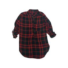 Red and Hunter Green Plaid 3/4 Sleeve Shirt - THE LUCKY KNOT ($43) via Polyvore
