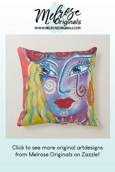 Colorful original art throw pillows from Melrose Originals that can be customized with your name or other text. Accent Pillows, Throw Pillows, College Dorm Decorations, Unique Home Decor, Lumbar Pillow, Wall Murals, Random Things, Whimsical, Abstract Art