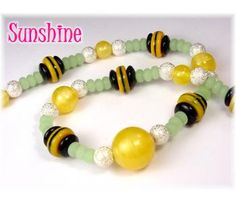 "Yellow Sunshine ~ Vintage Yellow Satin Art Glass Beads, Black & Yellow Vintage Art Deco Glass, Sterling Silver & Green Sea Glass 23"" Handcrafted Bead Necklace ~ FREE SHIPPING $69"