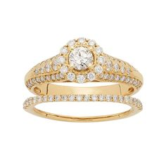 14k Gold 1 Carat T.W. IGL Certified Diamond Flower Engagement Ring Set, Women's, Size: 6.50, White
