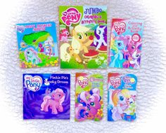 Lot Of 6 G3 My Little Pony Board Books Activity Coloring Story Assorted RARE EUC
