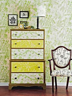 50 budget friendly bedroom ideas: Cover the furniture with wallpaper. It looks amazing and it's very cheap