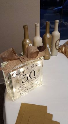 50th Wedding Anniversary Glass Block #ParentingAnniversary