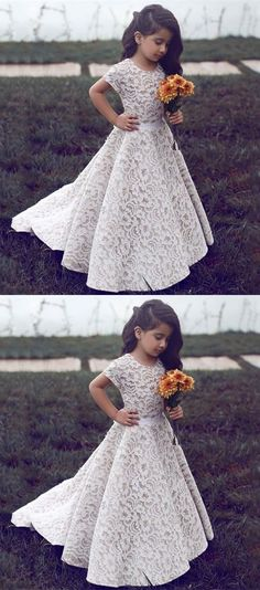 A-Line Jewel Short Sleeves Sweep Train Ivory Lace Flower Girl Dress M1184