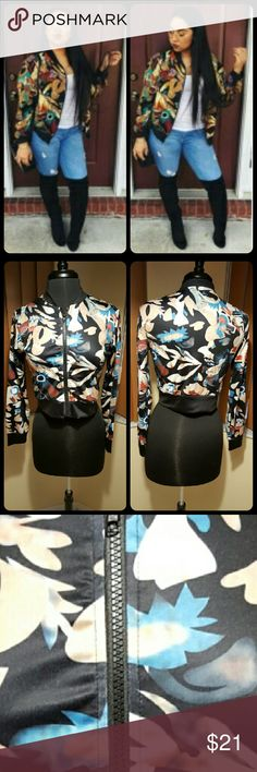 DIGITAL PRINTED JACKET 100% BNWOT. Good condition. Multi colors. Crew neck. Black zipper. 88% polyester and 12% spandex. Jacket is super thin like a blouse. Can be wore like a crop top. Small snag by zipper . This is an Asian item which tends to run small. Asian large / us size 8. No offers. price firm. Already listed at the lowest price.  Bundle for discount. unknown  Jackets & Coats Utility Jackets