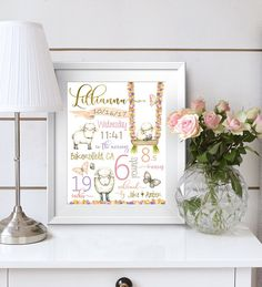 Birth stats, personalized baby gift, nursery decor, birth announcement, baby girl, farm theme, little lamb, butterfly nursery, Lamb theme Nursery Birth stats Birth details