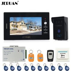 JERUAN NEW 7`` Video Intercom Entry Door Phone System 1monitor 700TVL Touch Key Waterproof RFID Access Camera   Remote control