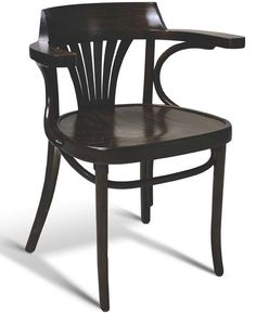 Bent-Wood Arm Chair; European Beech Fan Back Upholstered Chair