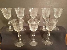 Set of 8 Vintage MidCentury Etched Glass Stemmed Cordial/Sherry Glasses  #Vintage, #Vintagebarware, #Cordials