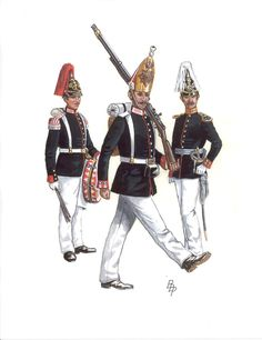 (a) Kaiser-Alexander-Garde-Grenadier-Regiment No. 1, Drummer. Parade Dress. (b) 1st Garde-Regiment zu Fuß, Grenadier. Parade Dress. (c) 4th Garde-Regiment zu Fuß, Captain. Parade Dress From Armies of Bismarcks Wars by Bruce Bassett-Powell www.uniformology.com