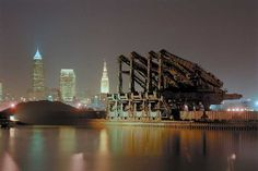 Hewlett Ore Unloaders.transferred iron ore from ship to train (Cleveland Ohio).