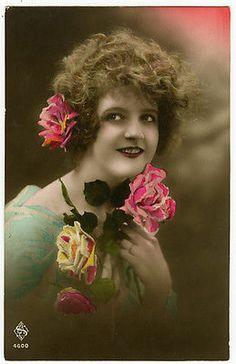Circa 1921 French Glamour Pretty Lady w Roses Tinted Photo Postcard | eBay