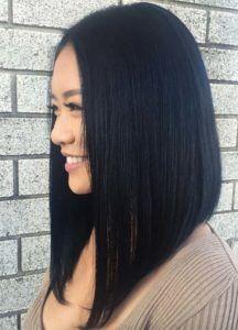 Dark Hair Colors: Deep Black Hair Colors One Length Haircuts, Long Bob Haircuts, Long Bob Hairstyles, Popular Hairstyles, Gorgeous Hairstyles, Lob Hairstyle, Wedding Hairstyles, Celebrity Hairstyles, Hairstyle Ideas
