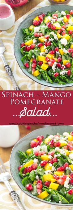 This tasty Chopped Spinach Salad with Pomegranate and Mango is a great way to get your veggies!