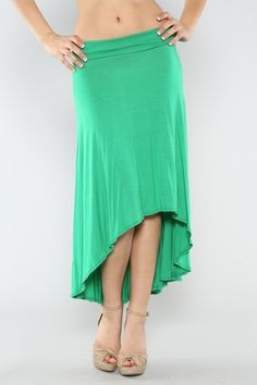 Green High Low Skirt *** Solid jersey high low knit skirt with folded elastic banded on waistline. Unlined. 95% Rayon, 5% Spandex. Made in USA.