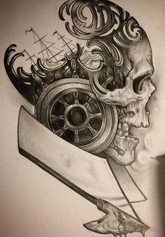 Эскиз тату для моряка с черепом, штурвалом и рулевым колесом